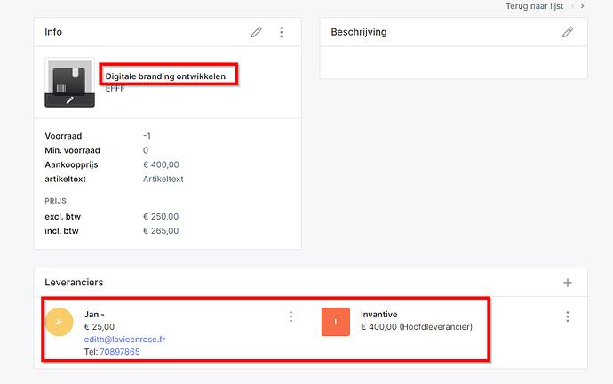 Teamleader product met leveranciers
