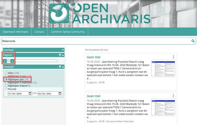 Zoeken in openbare overheidsdocumenten op pagina en datum laatste wijziging