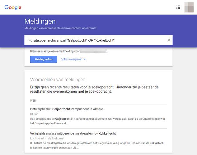 Google Alerts voorbeeld voor overheidsdocumenten