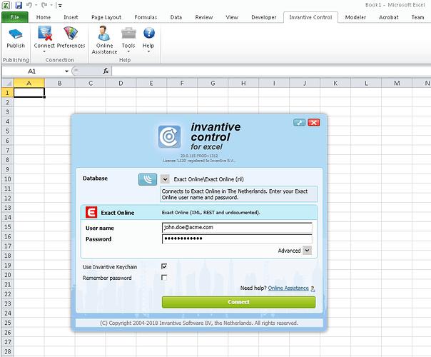 Excel add-in aanmelden op Exact Online