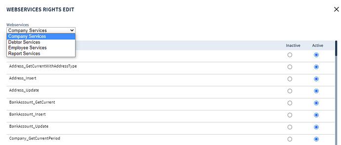 API rechten user template NMBRS