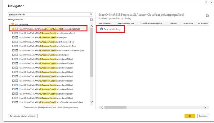 Power BI inhoud GLAccountClassificationMappings