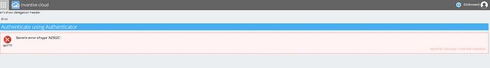 Generic error of type a25e2c