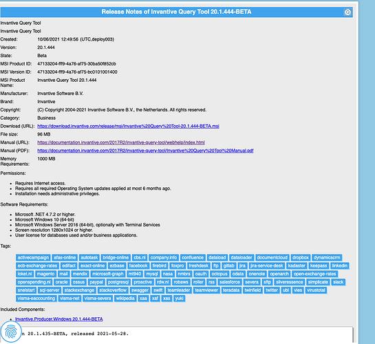 Screenshot release notes