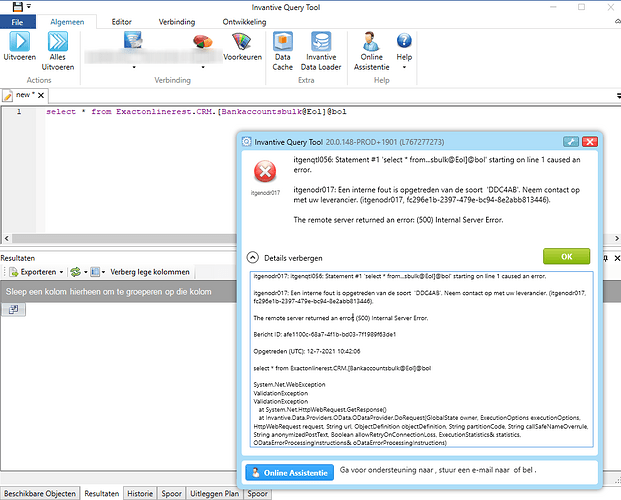 Query Tool foutmelding itgenqtl056