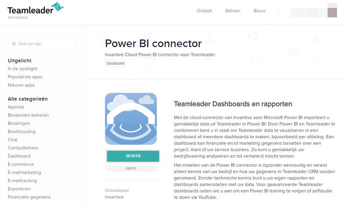 Power BI connector Teamleader Marketplace