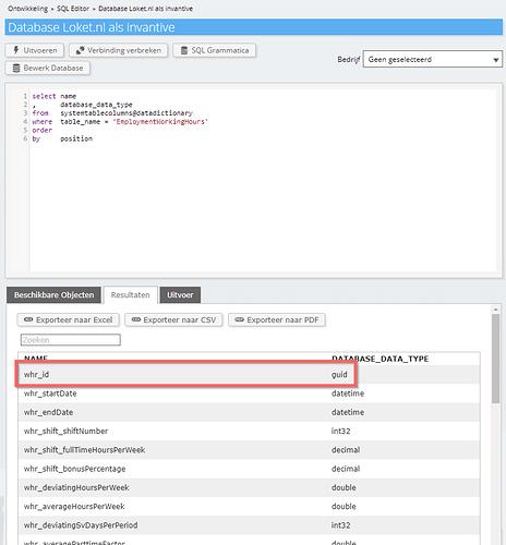 Loket API employment working hours ID changed