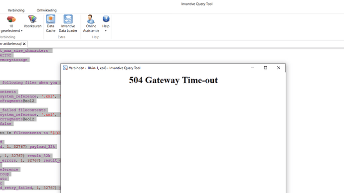 Exact Online 504 Gateway Time-out