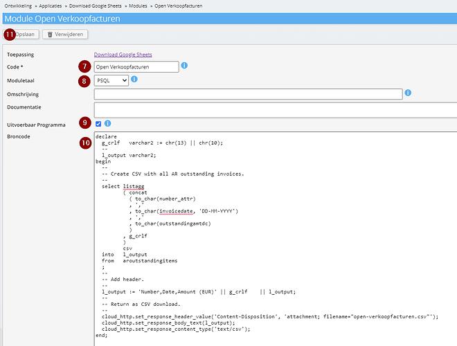 Open verkoopfacturen query in module op Exact Online