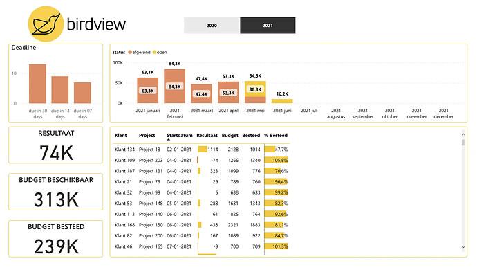 Teamleader Power BI dashboard projecten