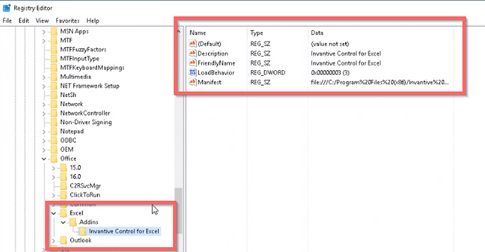 Registry key HKEY_LOCAL_MACHINE\Software\Microsoft\Office\Excel\Addins\Invantive Control for Excel