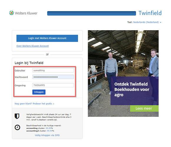 Twinfield OAuth aanmeldscherm