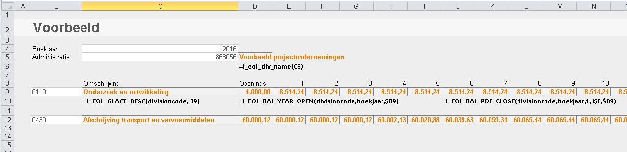 Exact Online cijfers in Excel
