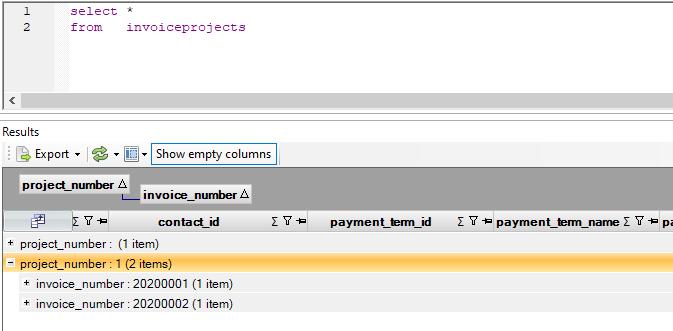 Simplicate projectfacturen SQL query