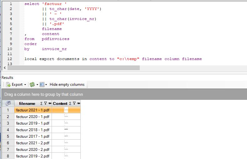 Download query met Teamleader PDF facturen