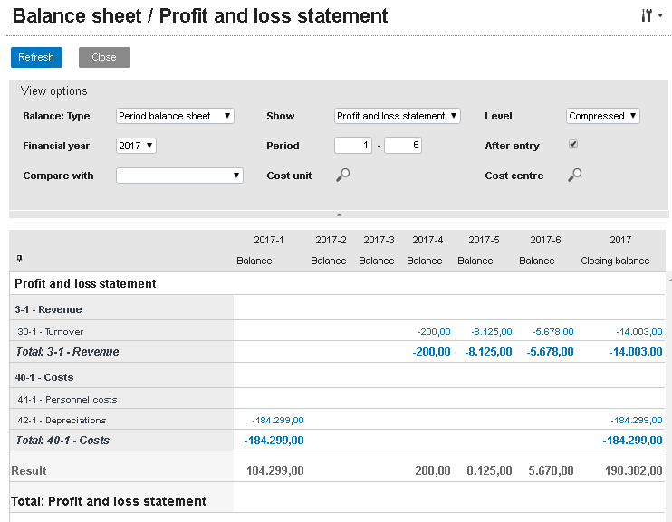 Balance sheet and profit and loss statement