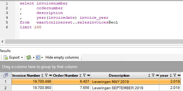 Exact Online query verkoopfacturen