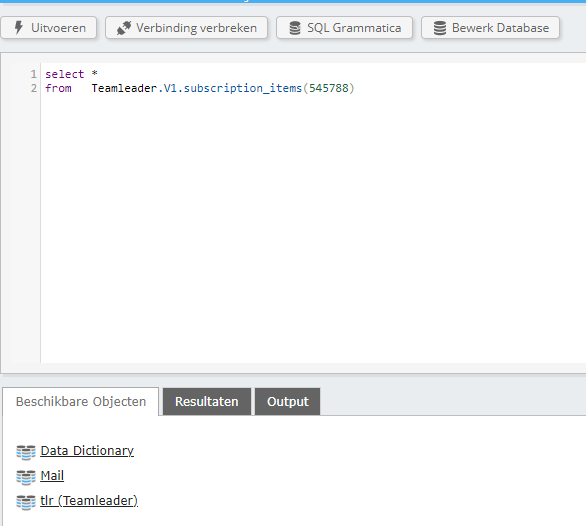 SQL query op Teamleader subscription items