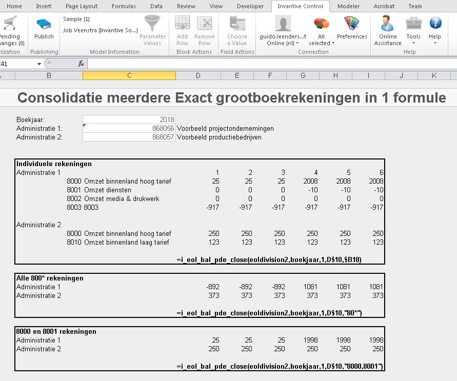 Exact Online consolidatie formules
