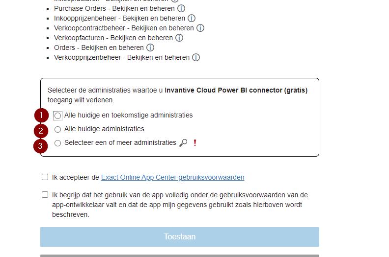 Configureer Exact Online division scoping
