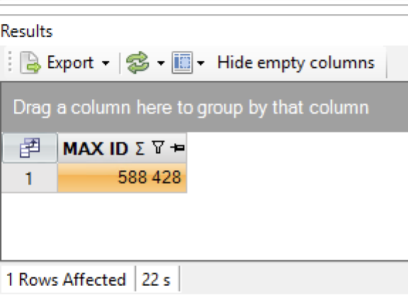 Execute query with max