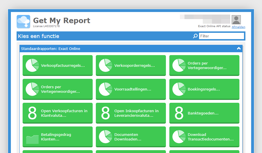 Download from Exact Online with Get My Report