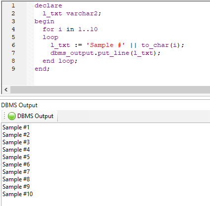 Query Tool dbms_output