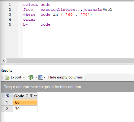 Filter data uit Exact met een in-clause