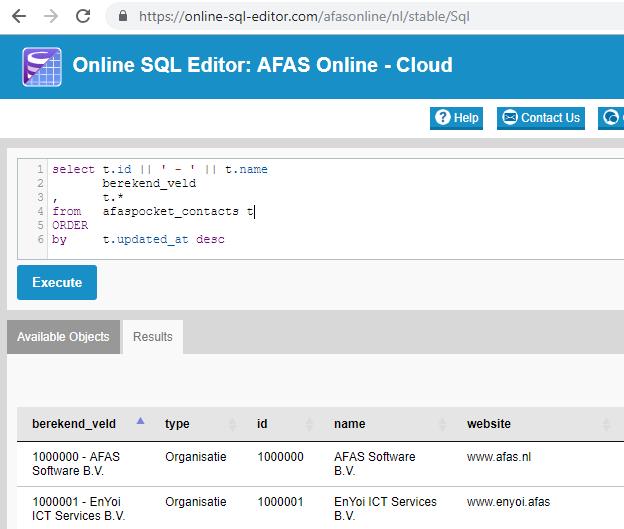 afas-online-sql-editor