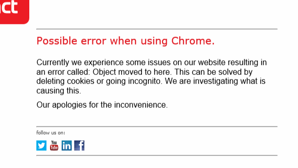 Exact Online error when using Chrome