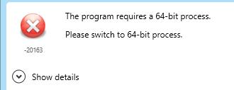 The program requires a 64-bit process