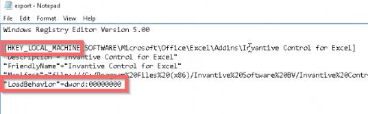 VSTO registry key with LoadBehavior