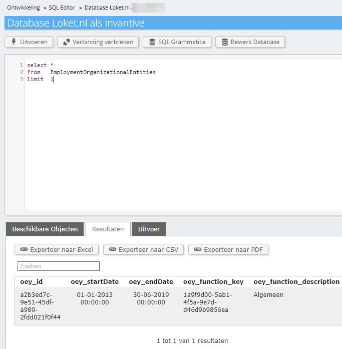 Loket.nl SQL view EmploymentOrganizationalEntities