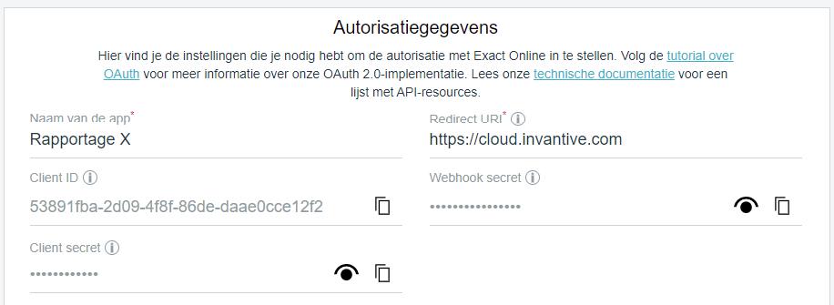 Autorisatiegegevens van Exact Online app