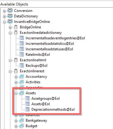 Bridge Online representation of Exact Online assets