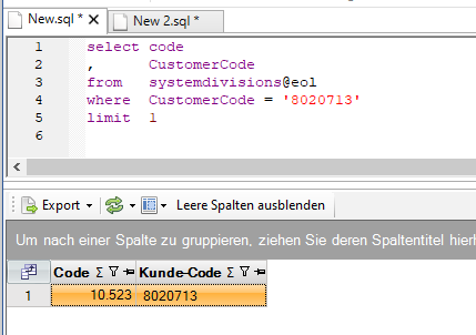 Query SystemDivisions op klantcode