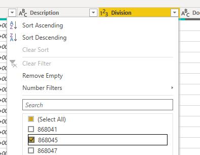 Power BI filter on 1 Exact Online company