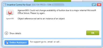 itgenarn065: Could not change availability of button due to a major internal Microsoft Office failure.