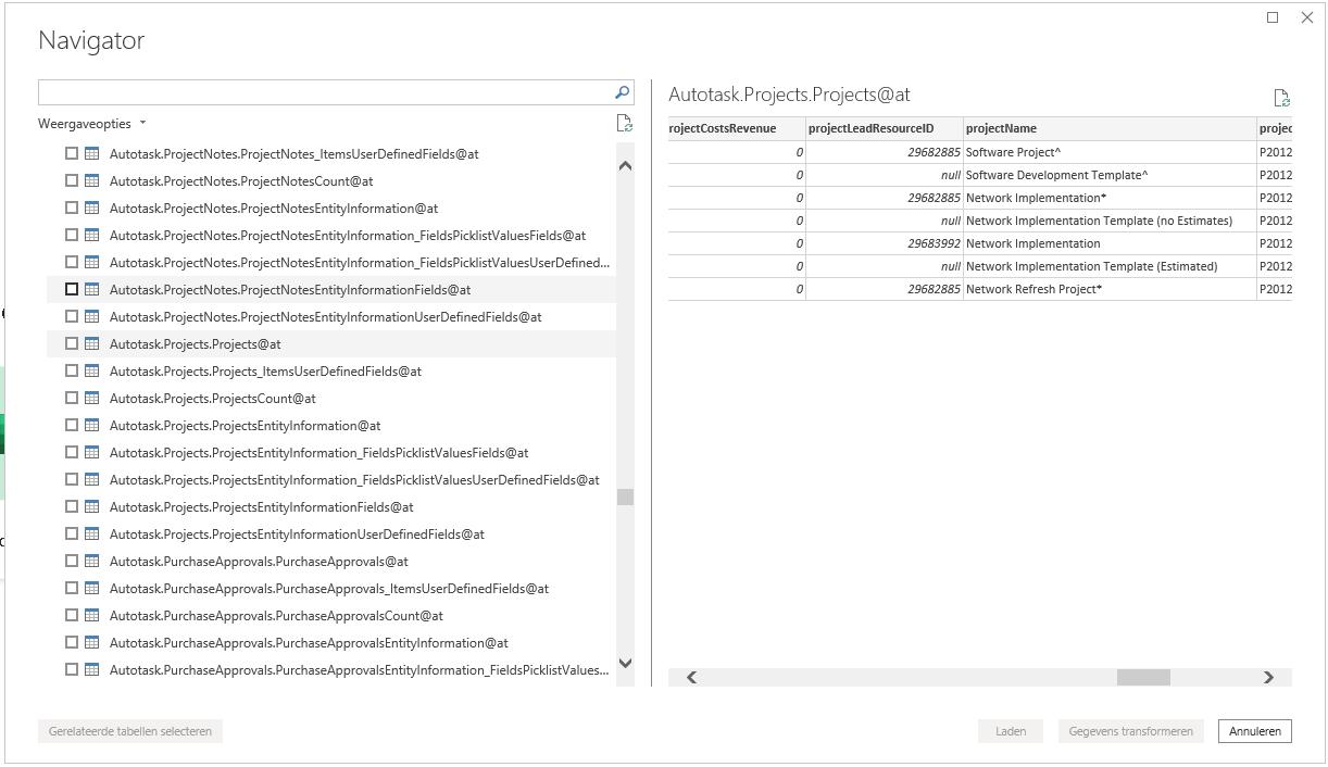 Autotask Power BI tabellen