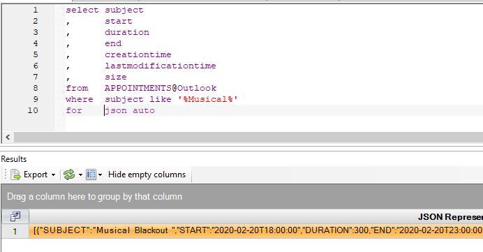Outlook calendar as JSON