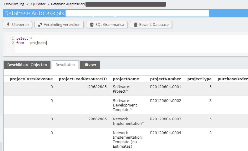 Autotask lijst projecten in SQL