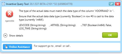 Error itgenrst004 on ODBC