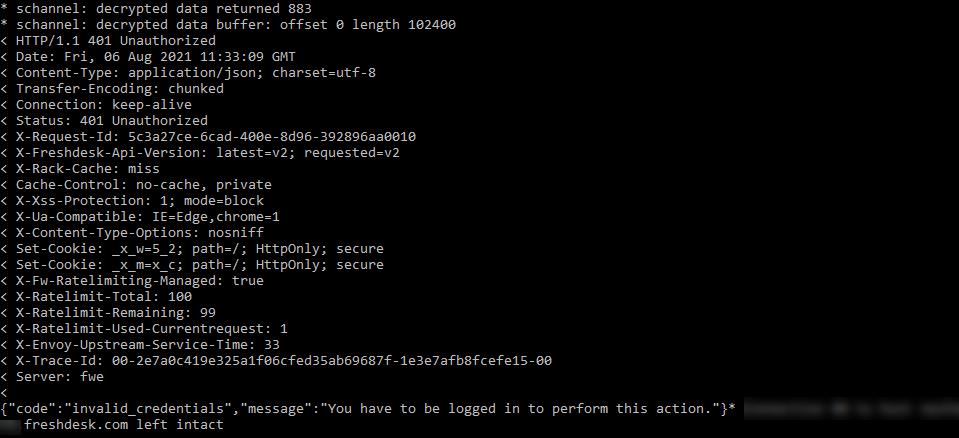 Failed Freshdesk API call