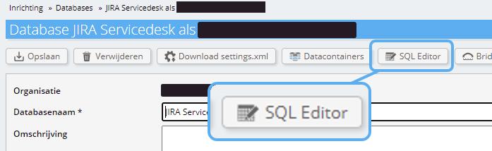 SQL editor vanaf database