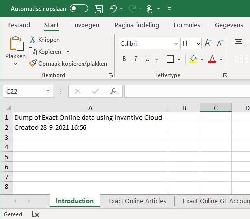 Voorbeeld Exact Online dump naar Excel