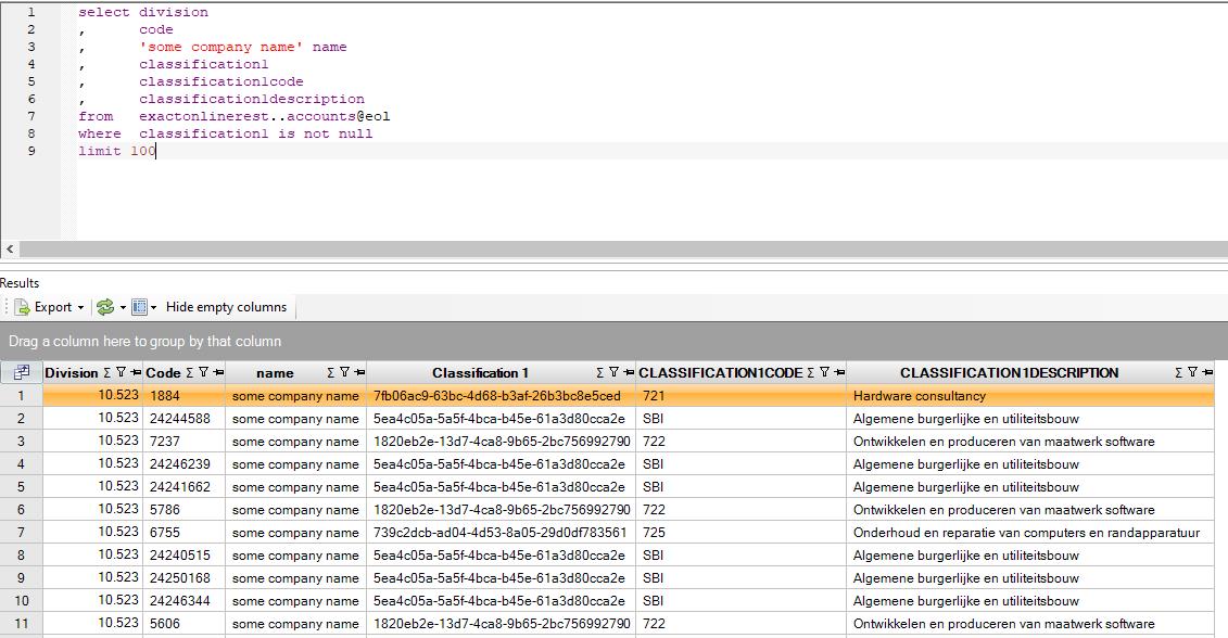 Exact Online API accounts en classificaties