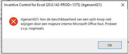 itgenarn021: Kon de beschikbaar van een split-knop niet wijzigen door een majeure interne Microsoft Office fout. Probeer s.v.p. nogmaals.